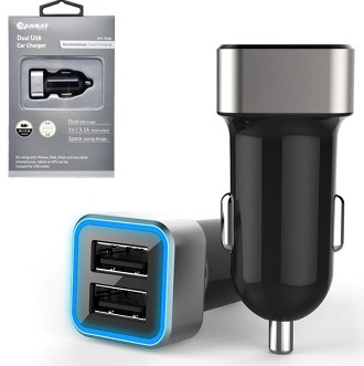 2 way USB Cigarette Car Charger For Smartphones/Gps/Camera
